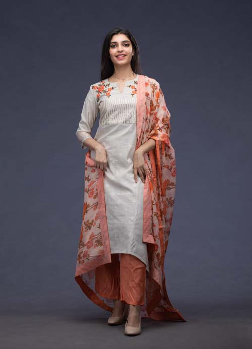 Beige Embroidered Kurti with Kota Dupatta and Pants