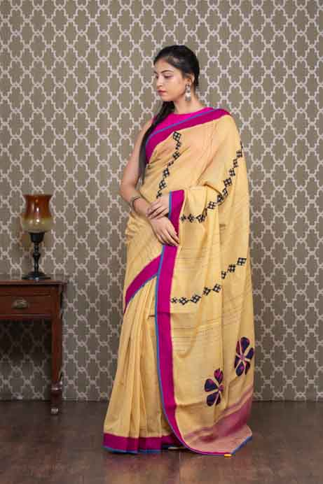Beige Handloom Cotton Saree with Applique Embroidery