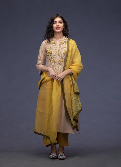 Beige Kurti with Thread Embroidery, Kota Dupatta and Pants