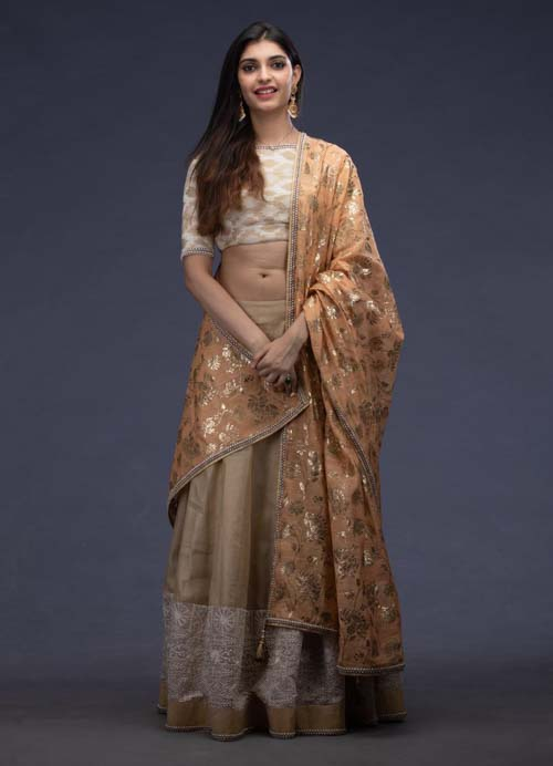 Beige Lehenga Set with Pearl Embroidery and Foil Printed Dupatta