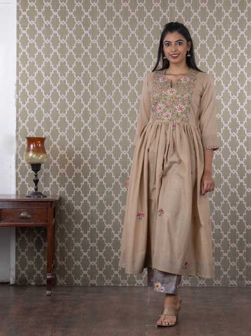 Beige Mal Cotton Frock Style Embroidered Kurti with Pants