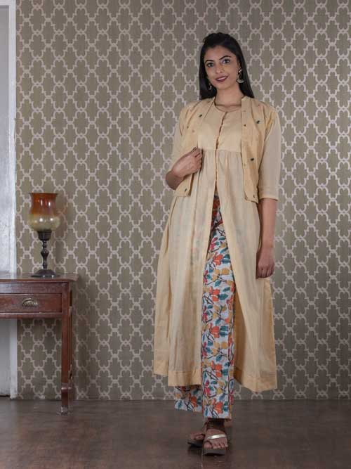 Beige Mal Cotton Frock Style Kurti with Short Koti and Batik Pants