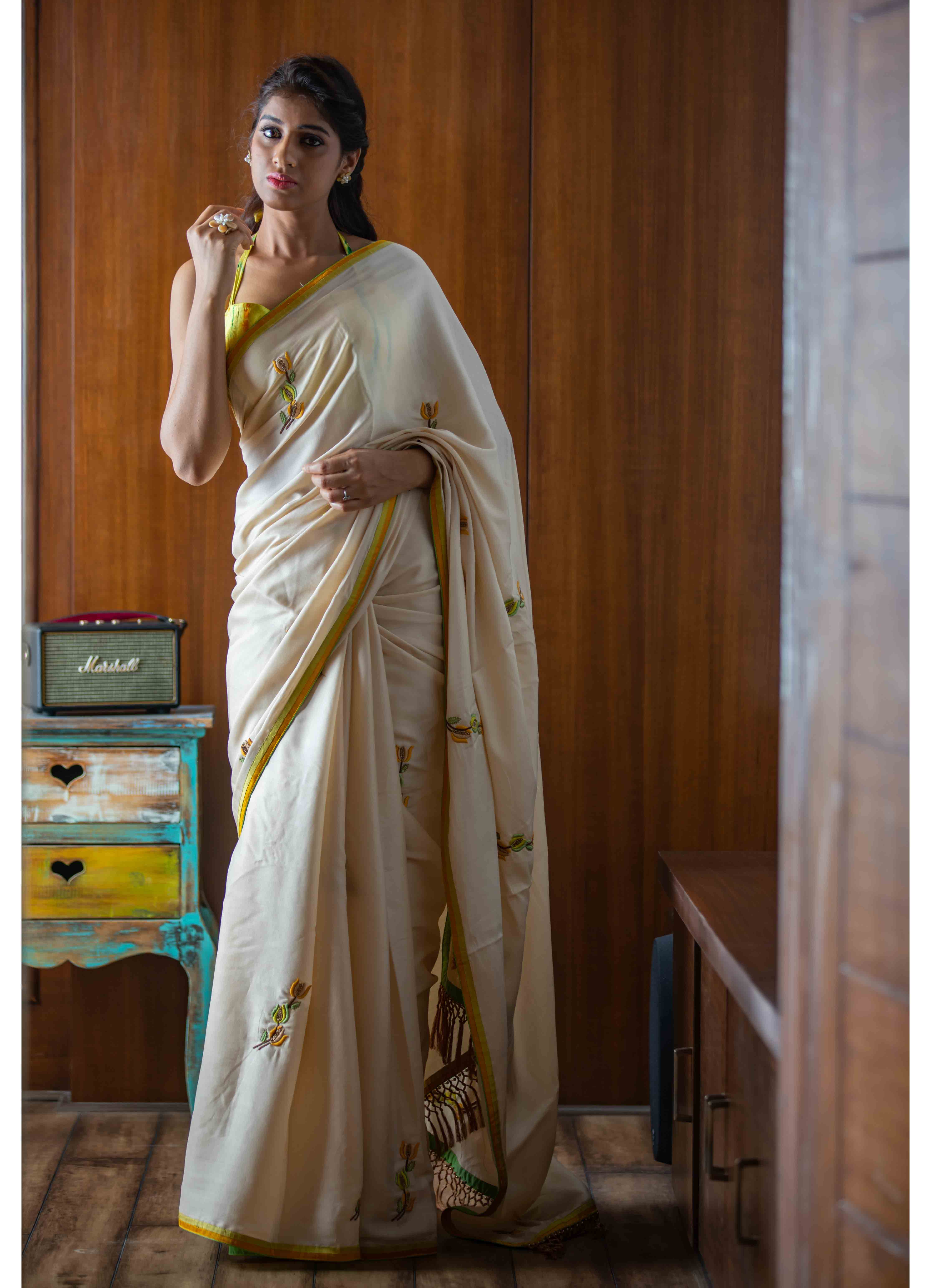 Beige Mumba Silk Saree with Tie-n-Dye Blouse
