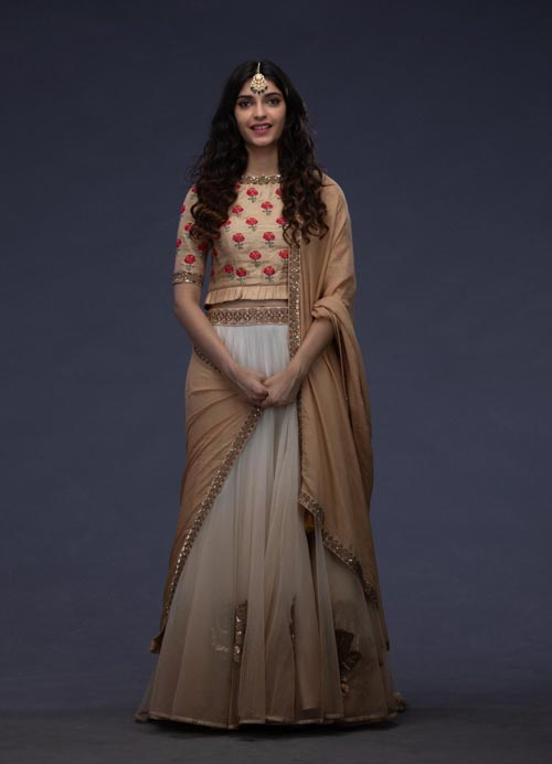 Beige and White Lehenga with Thread and Sequence Embroidery