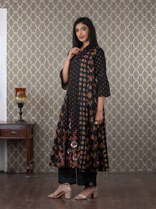 Black Printed Cotton Kalidar Kurti With Grey Pants