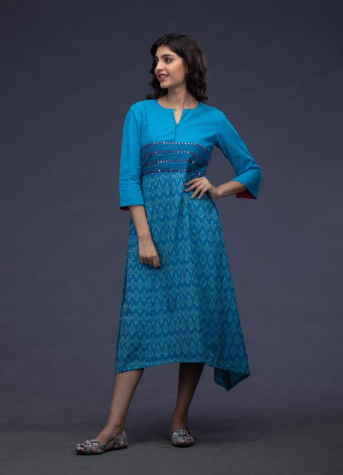 Blue Uneven Hemline Kurti with Mirror Work