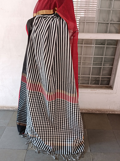 Black and white stripes pattern with black and maroon border maheshwari saree