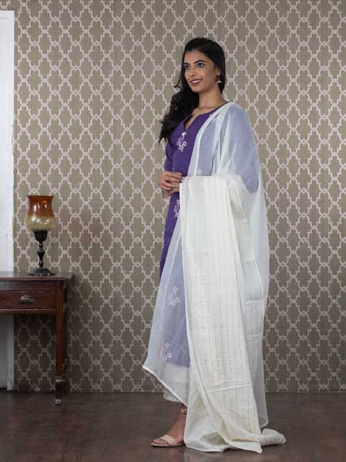 Blue Chanderi Cotton Embroidered Kurti with Pants and Dupatta