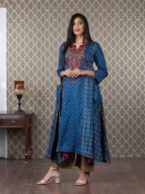 Blue Cotton A-Line Kurti With Printed Pants