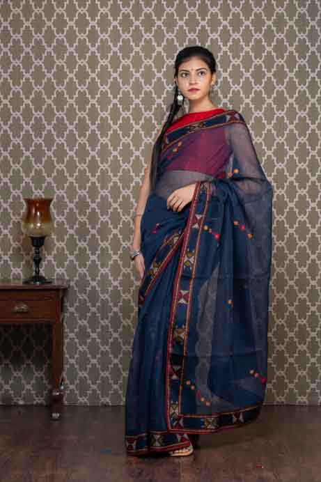 Blue Cotton Kota Saree with Thread Embroidery