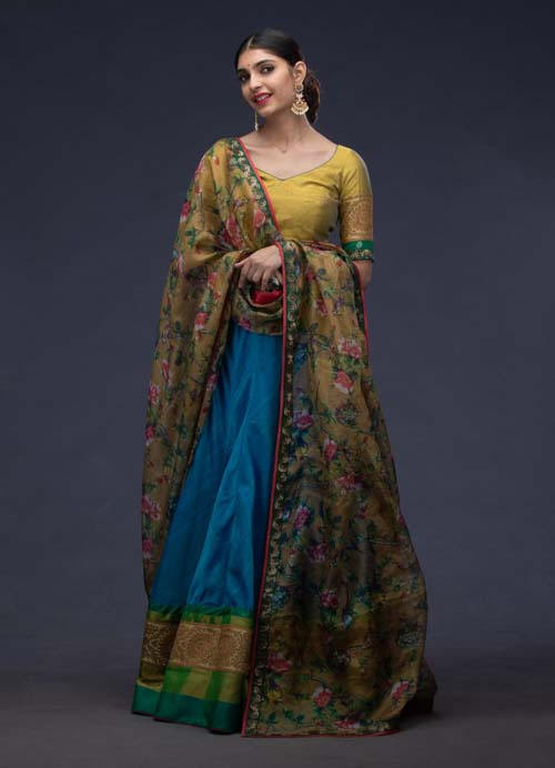 Blue Cotton Lehenga Set with Floral Printed Kota Dupatta