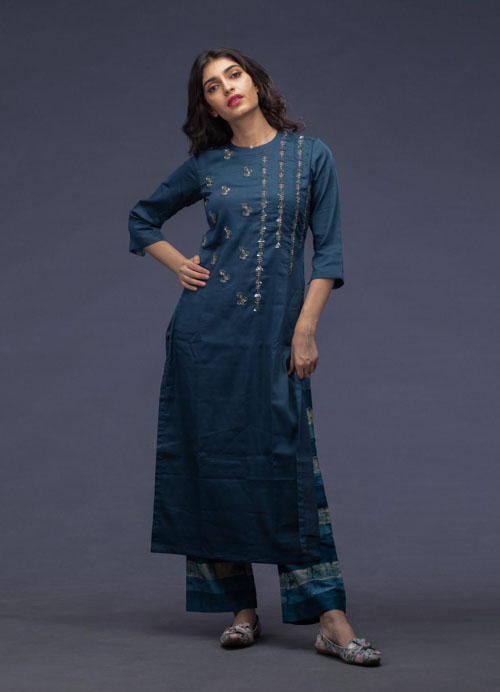 Blue Embroidered Kurti with Printed Pants