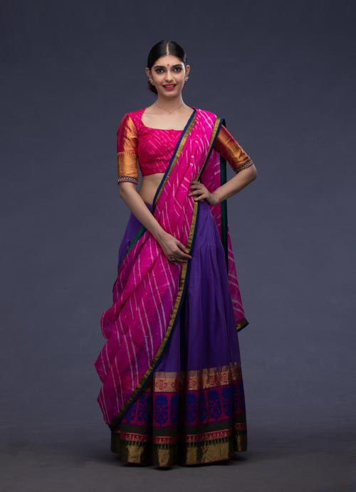 Blue and Pink Handloom Lehenga Set