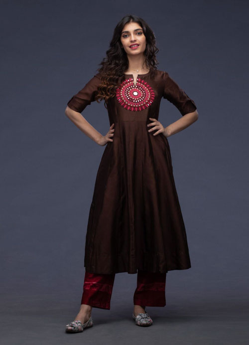 Brown Chanderi Kurti with Mirror work and Printed Pants