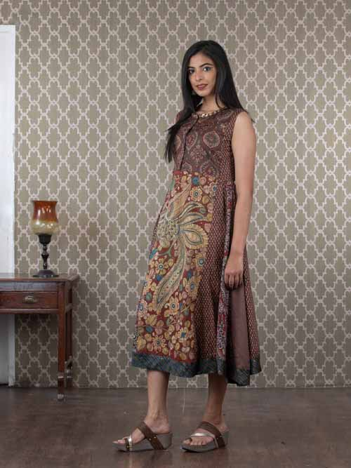 Brown Cotton Sleeveless Kurti Dress with Kalamkari Print