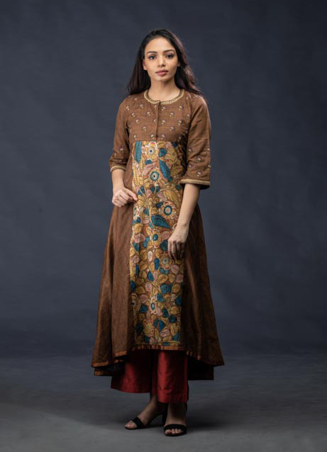 Brown Kalamkari Pattern Kurti with Maroon Pants