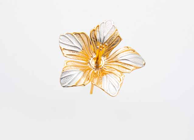 Gold Plated Silver Hibiscus Flower