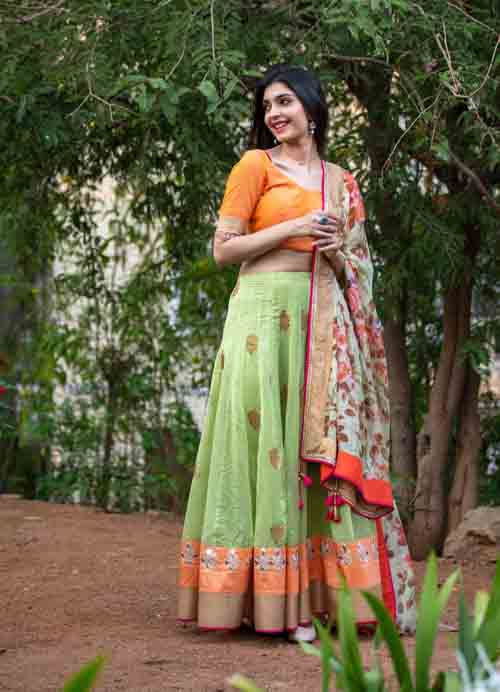 Green Chanderi Lehenga Set with Floral Printed Kota Dupatta