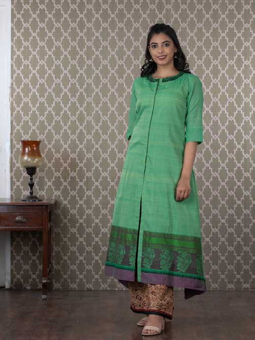 Green Cotton A-Line Kurti with Black Ikkat and Kalamkari Pants