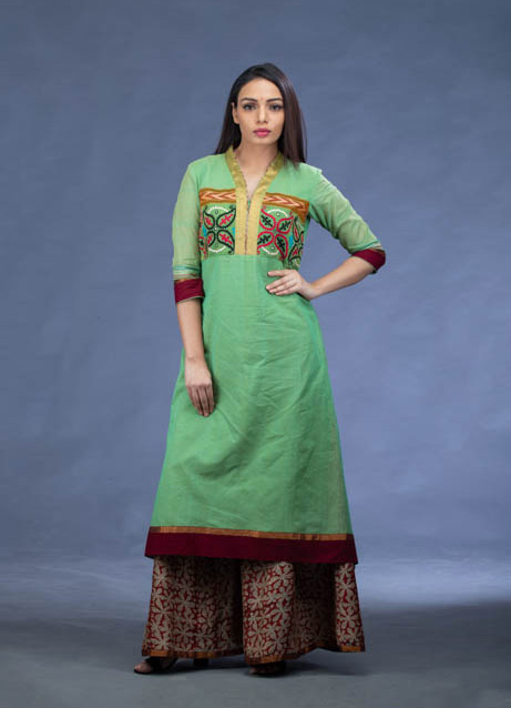 Green Embroidered Kurti with Printed Kalamkari Palazzo Pants