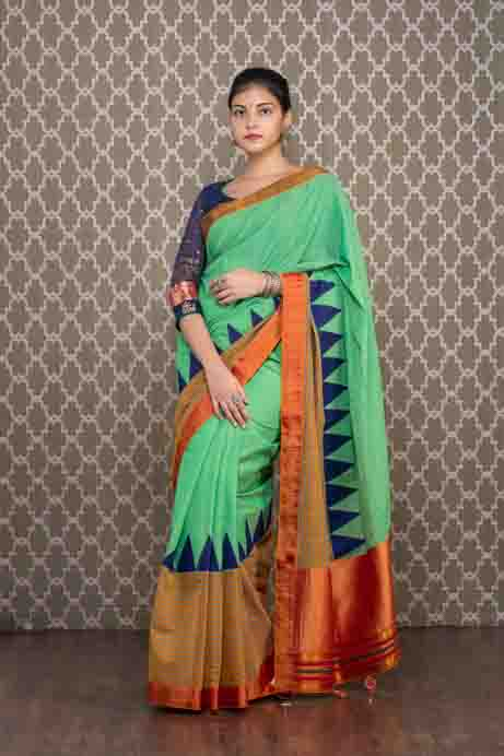 Green Handloom Pattern Saree with Blue Temples