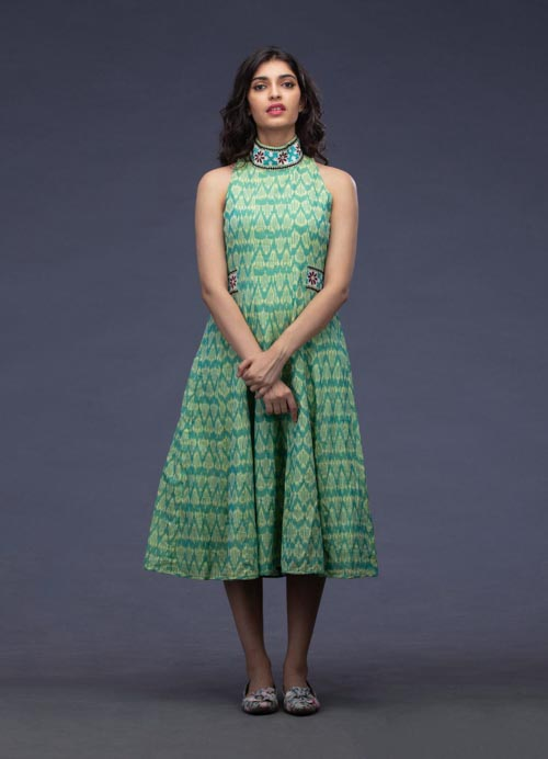 Green Ikkat Cotton Kurti with Kutch Work