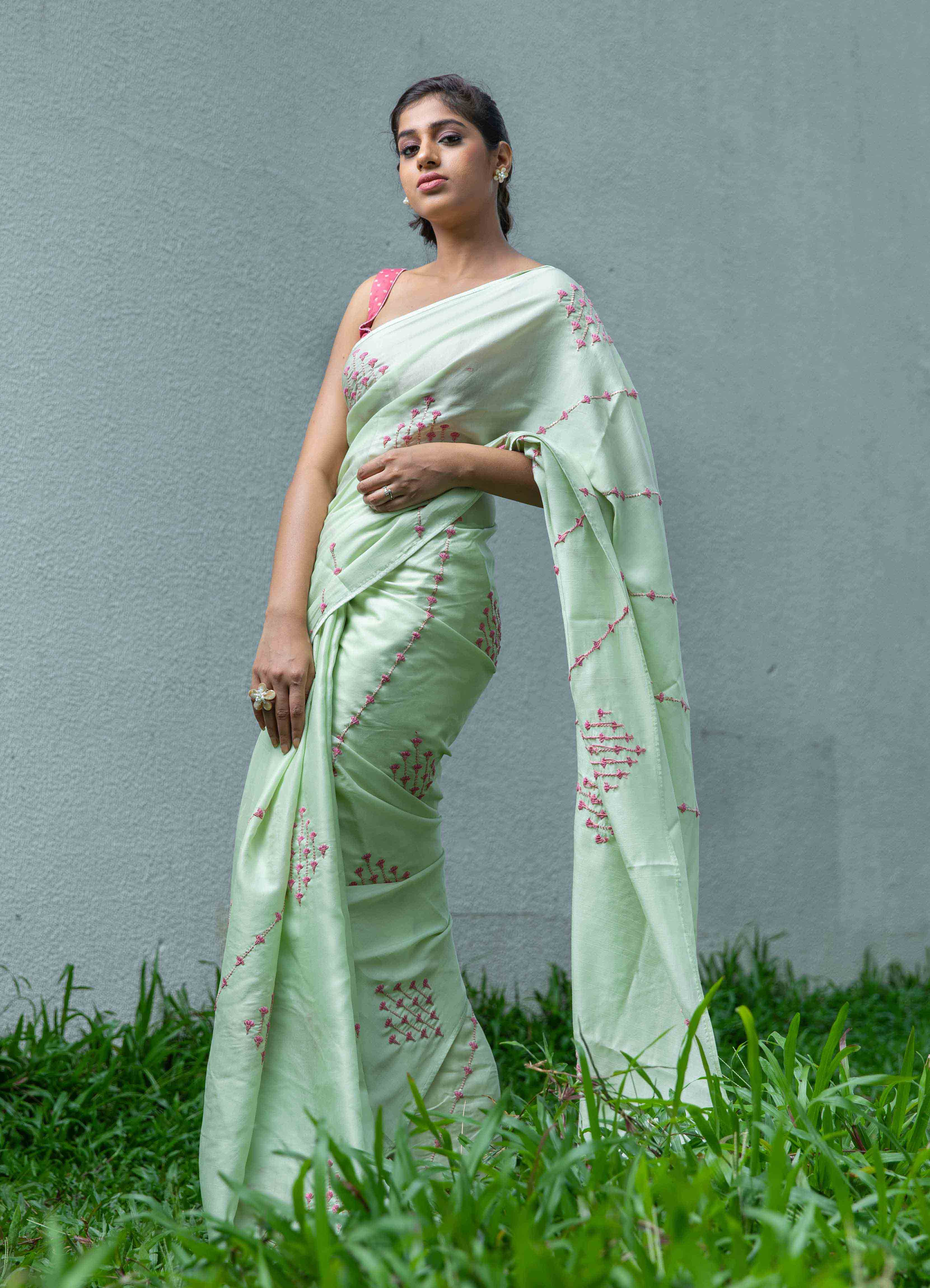Green Mumba Silk Saree with Pink Printed Blouse