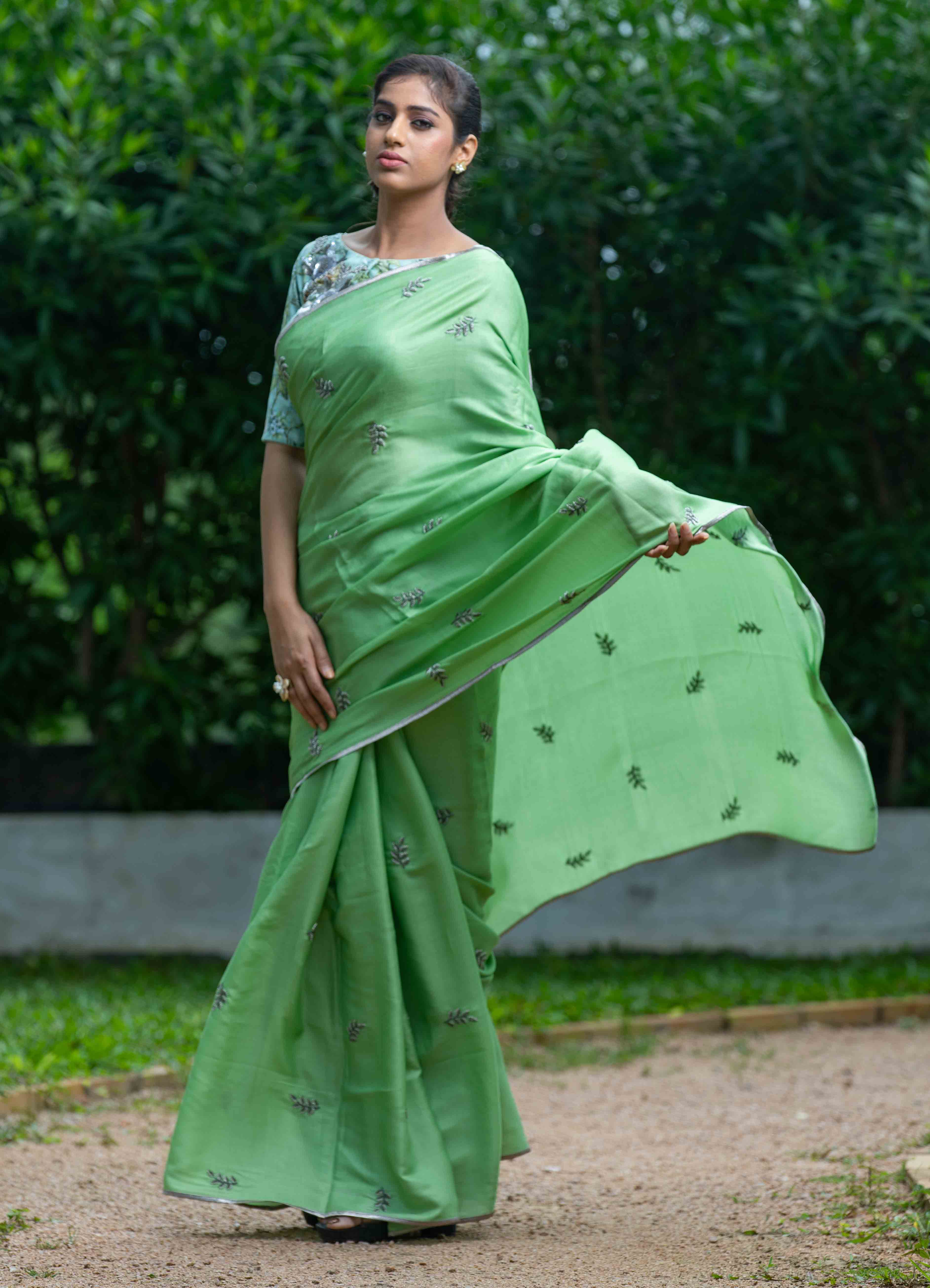 Green Saree with Floral blouse
