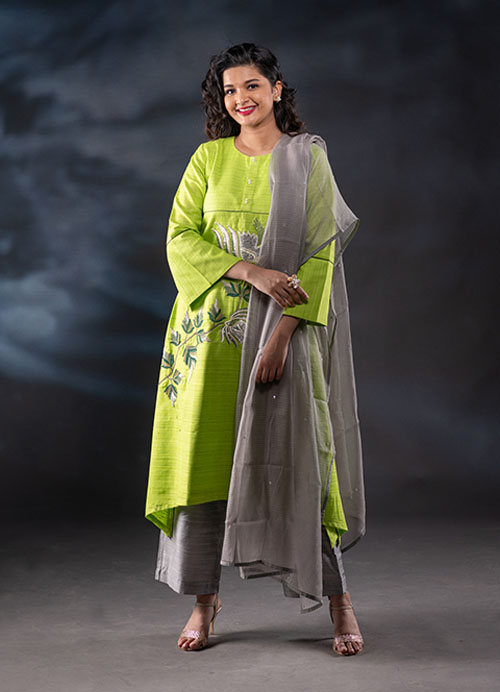 Green Thread and Pearl Embroidery Cotton Kurti with Pants and Kota Dupatta
