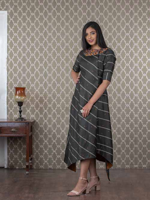 Grey A-Line Cotton Kurti Dress With Thread and Mir