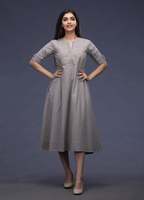 Grey Checkered Cotton Kurti with Mirror Embroidery