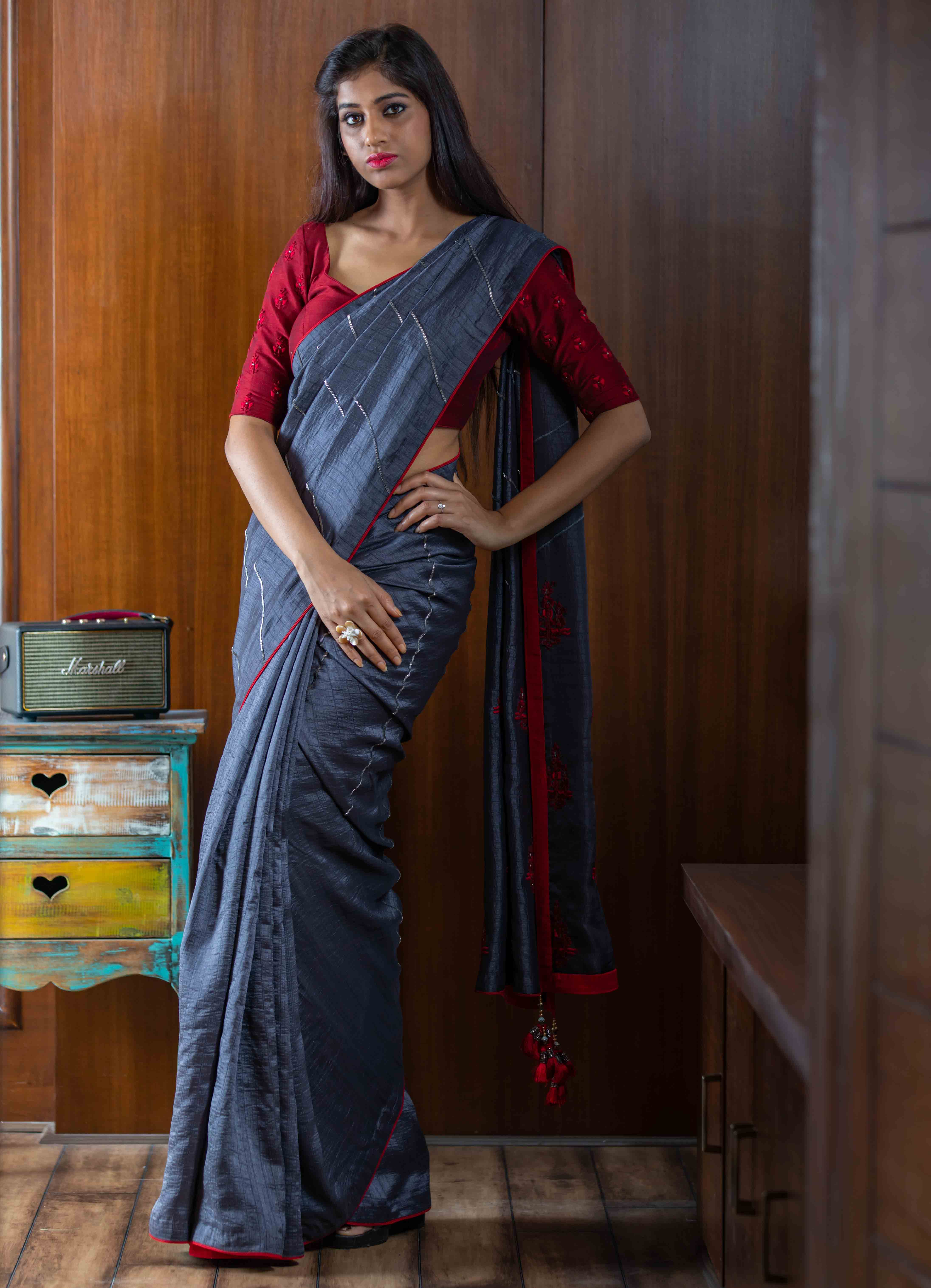 Grey Cheniya Silk Saree with Red blouse