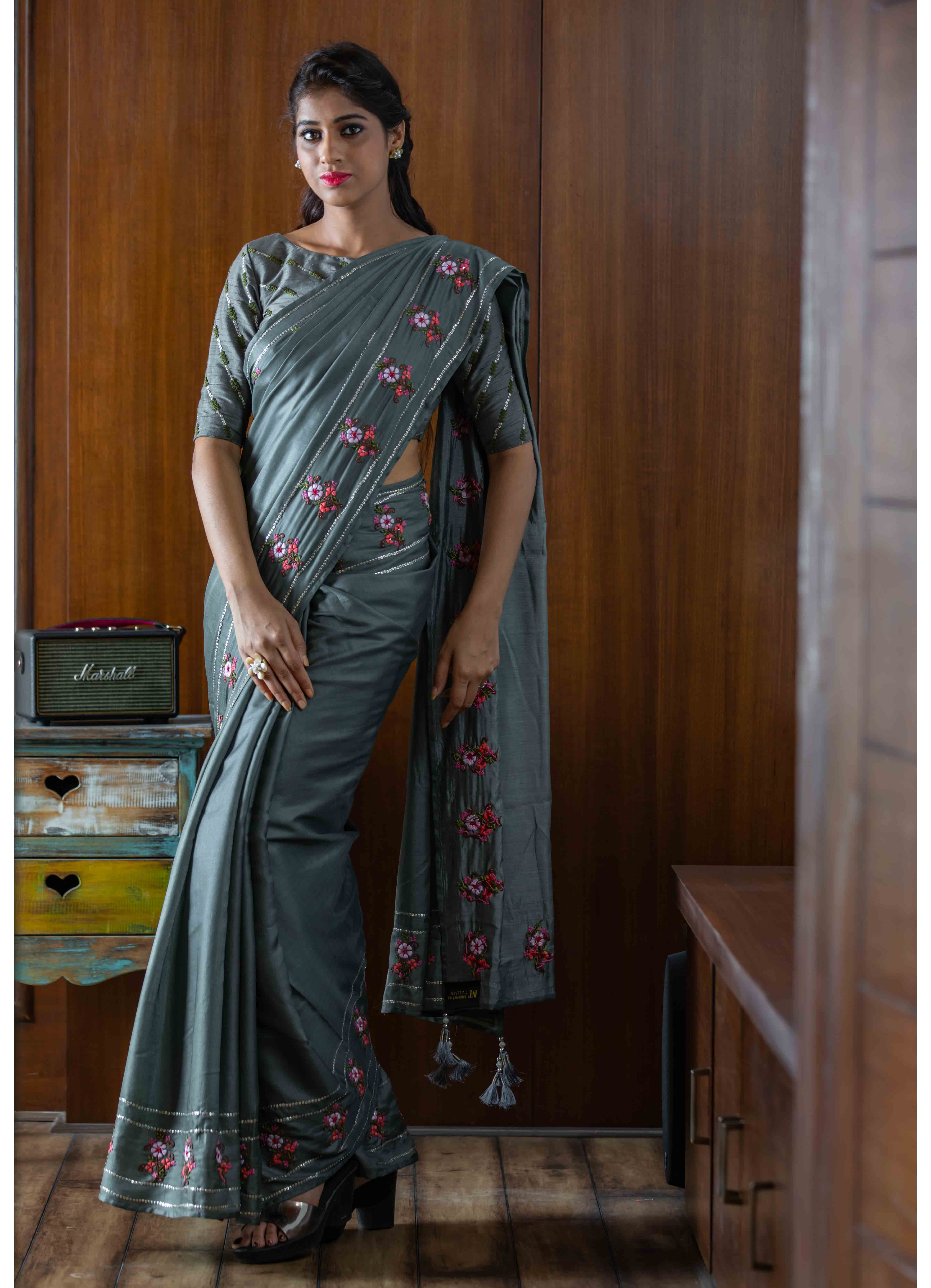 Grey Mumba Silk Saree with Self Coloured Blouse
