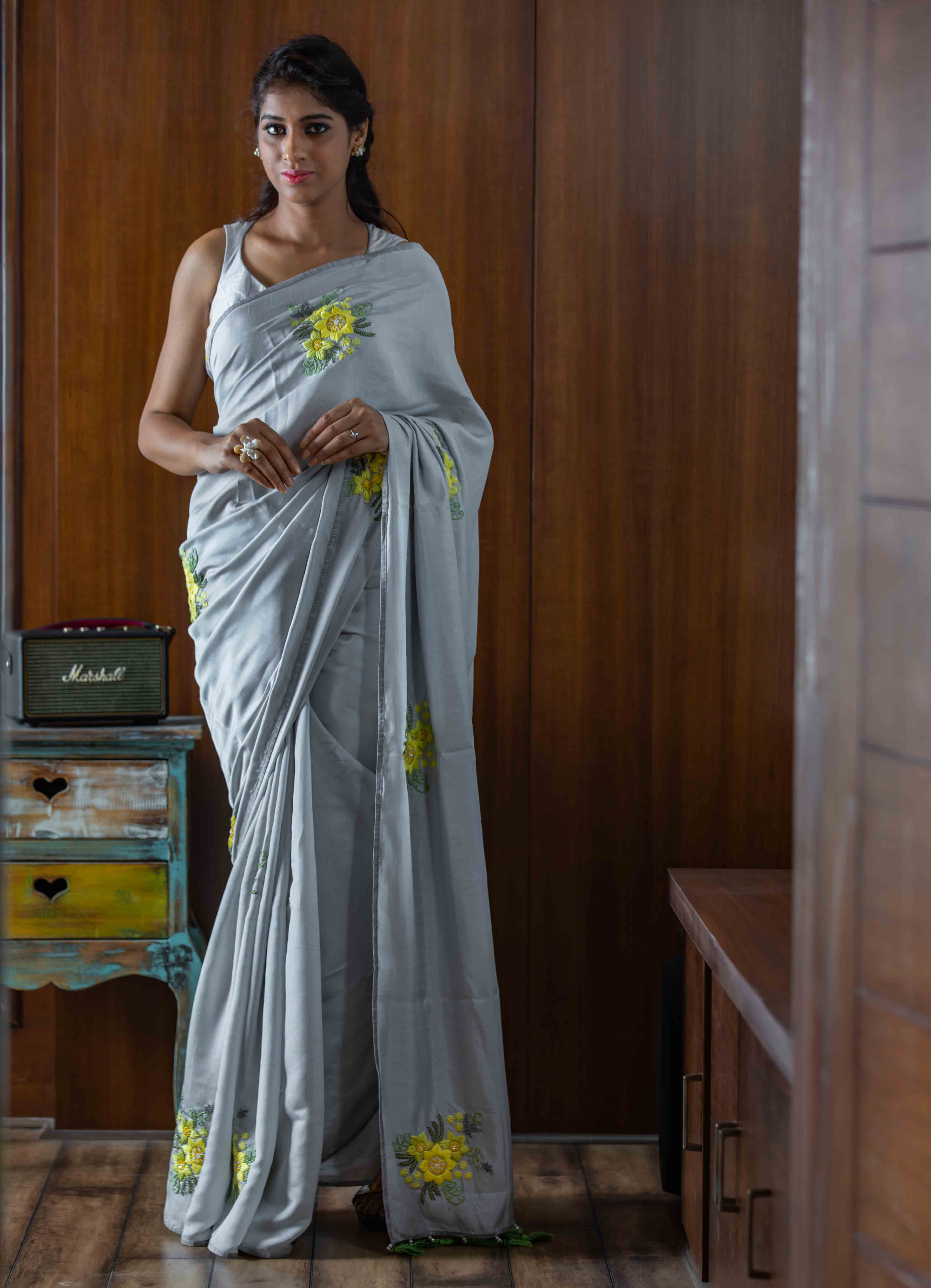 Grey Mumba Silk Saree with Tie-n-Dye Blouse
