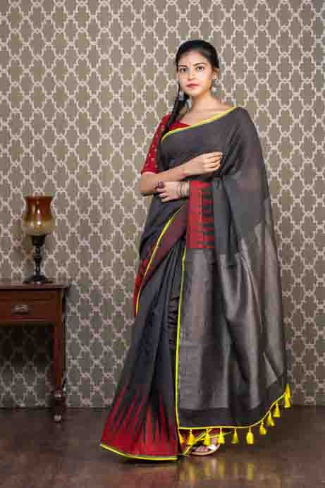 Grey Organic Cotton Saree with Red Zari Temples