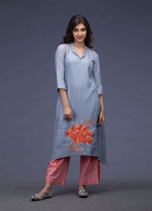 Grey Thread Embroidered Kurti with Tie-n-Dye Pants