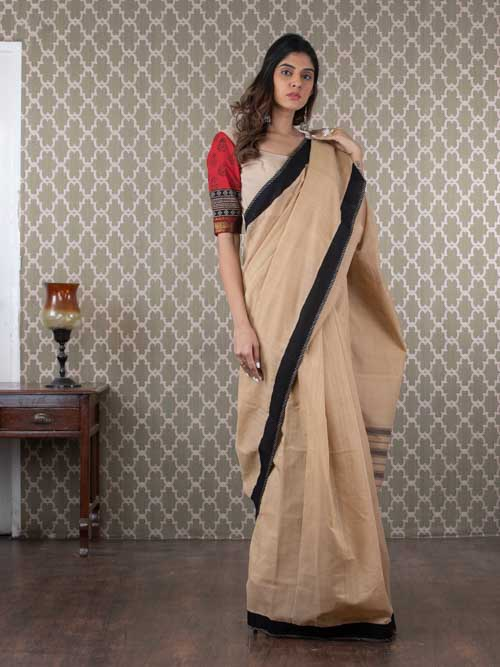 Handwoven Beige Cotton Sari