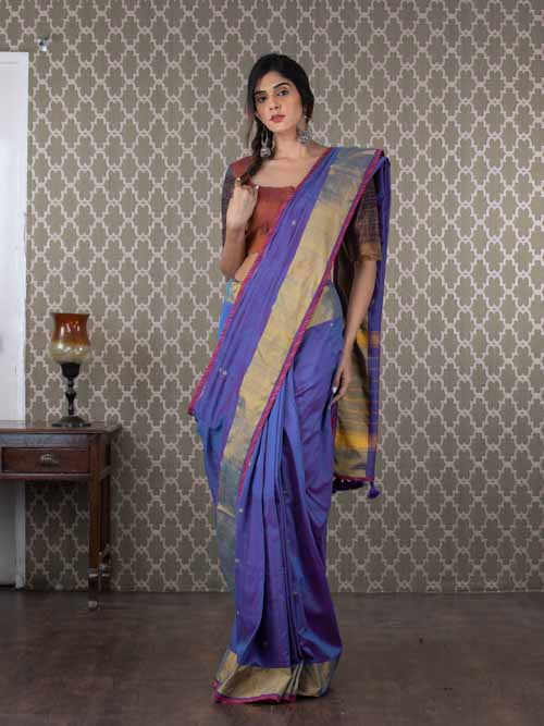 Handwoven Blue Chanderi Cotton Sari