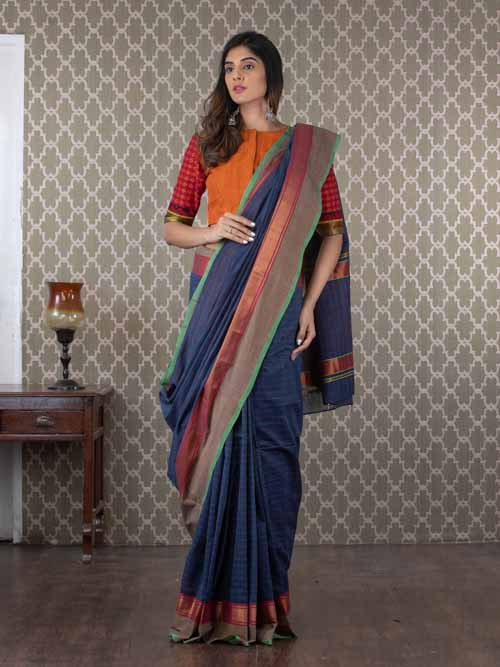 Handwoven Blue Cotton Sari with Zari Border