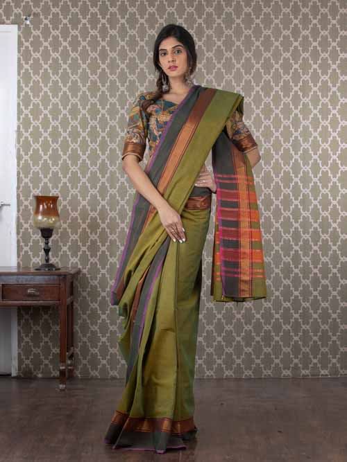 Handwoven Green Cotton Sari
