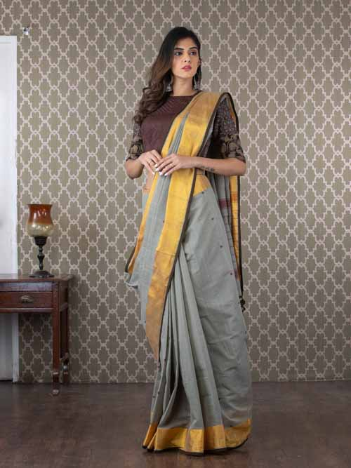Handwoven Grey Cotton Chanderi Sari