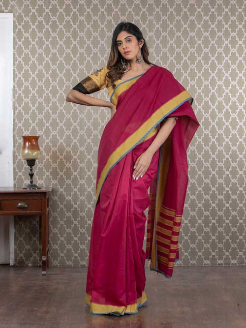 Handwoven Maroon Cotton Sari