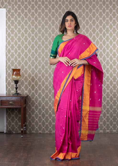 Handwoven Pink Chanderi Cotton Sari
