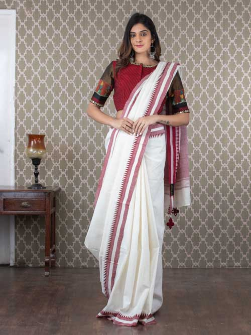 Handwoven White Malkha Cotton Sari