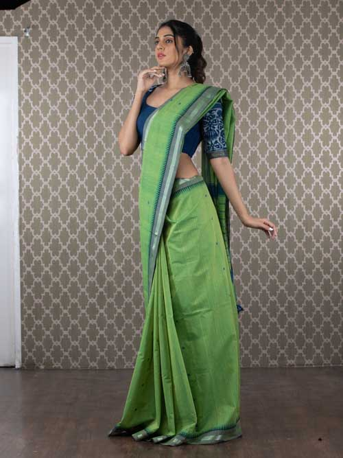 Hand woven cotton saree with silver zari temple border