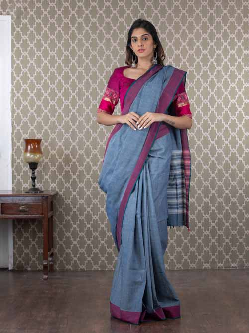 Handwoven indigo dyed saree