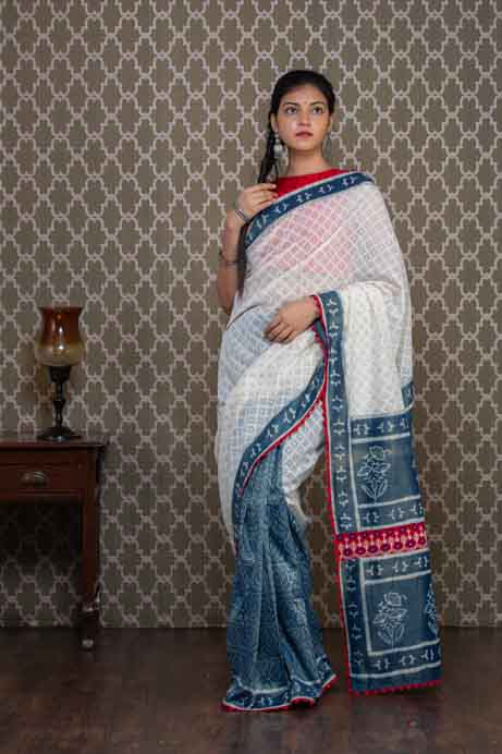 Indigo Printed and White Half and Half Saree
