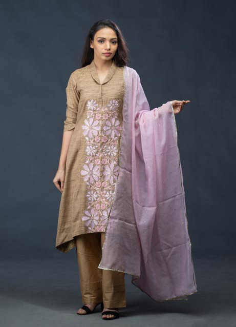 Light Brown Embroidered Kurti With Pink Kota Dupatta and Pants