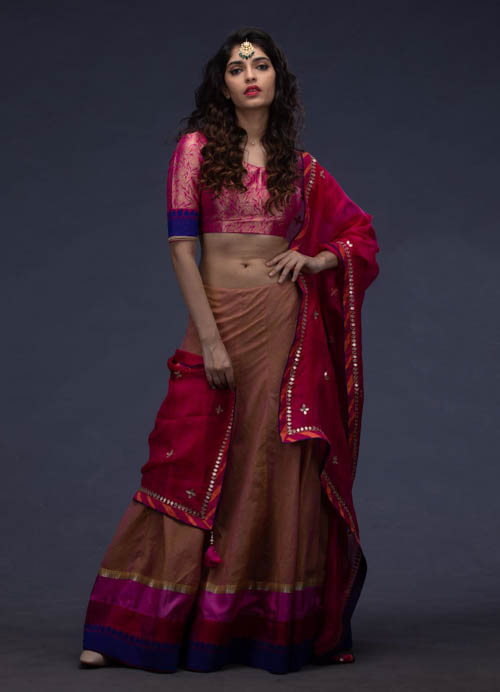 Light Brown Lehenga Set with Tie-n-Dye Kota Dupatta