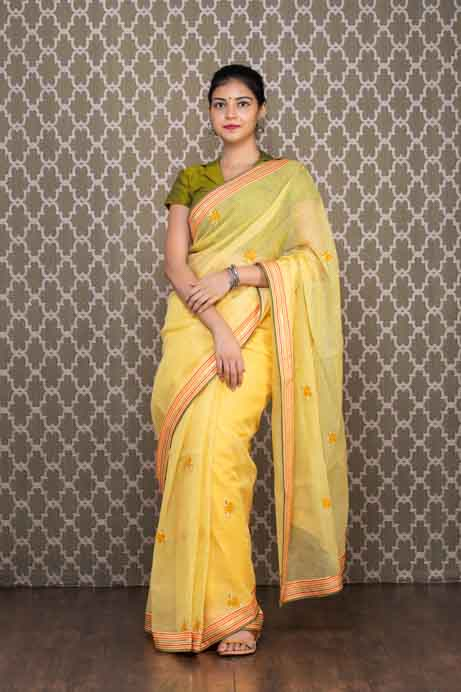 Light Yellow Cotton Kota Saree with Thread Embroidery